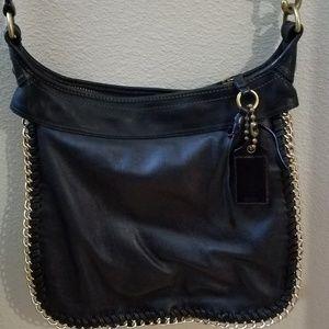 Black and gold chain coach shoulder bag
